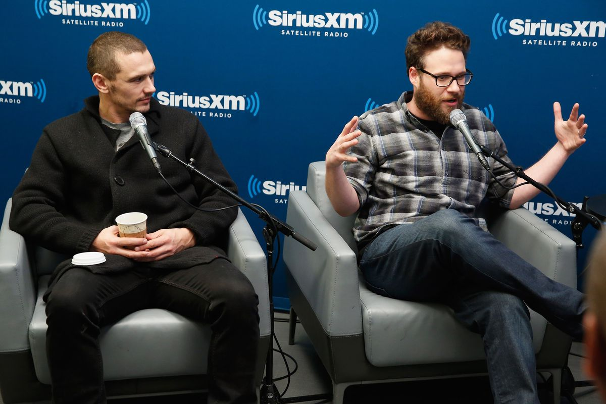 James Franco (left) and Seth Rogen promote their new film The Interview Monday morning on SiriusXM.