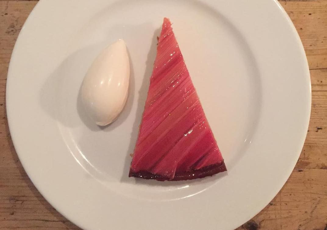 Rhubarb tart at Brawn, one of the best places to eat pastry in London