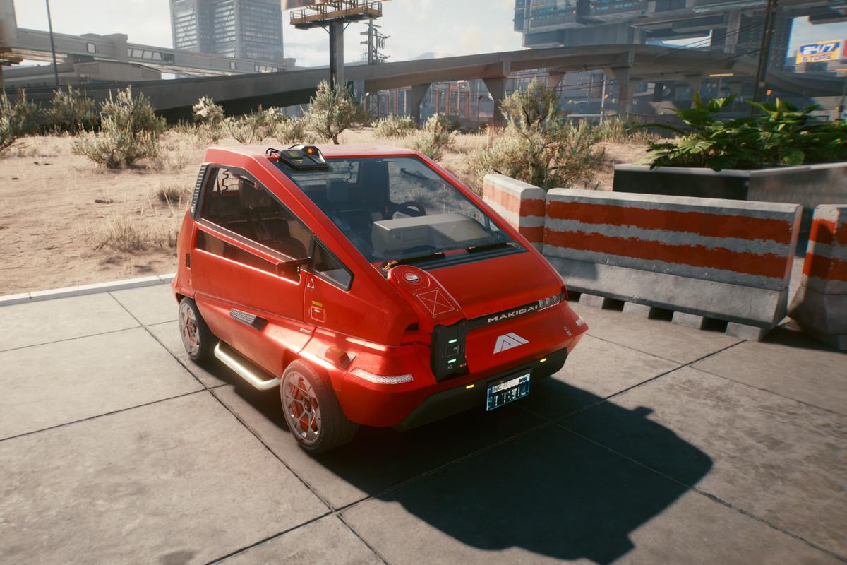 A small red car in Cyberpunk 2077