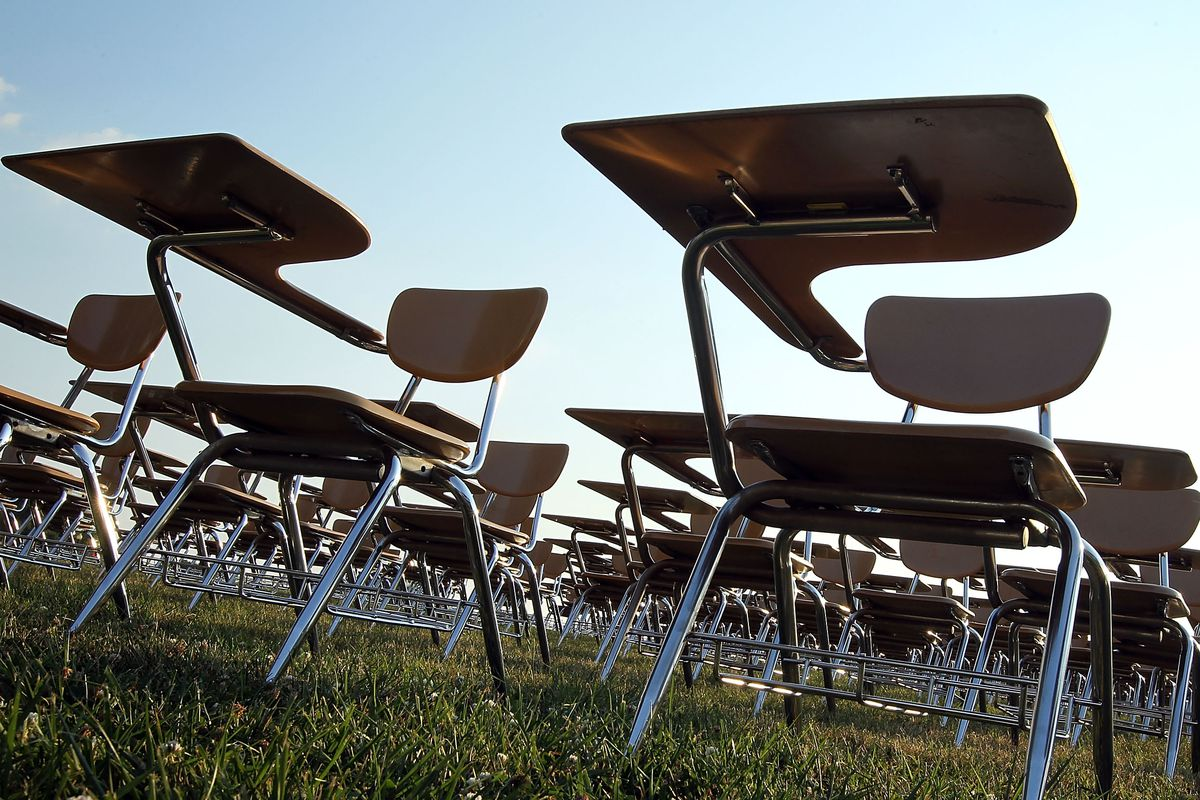 Empty desks on the National Mall.
