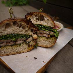 """Roast Porchetta Sandwich with Arugula and Salsa Verde by <a href=""""https://www.flickr.com/photos/emilysalshutz/14659635937/in/pool-eater/"""">emilysalshutz"""
