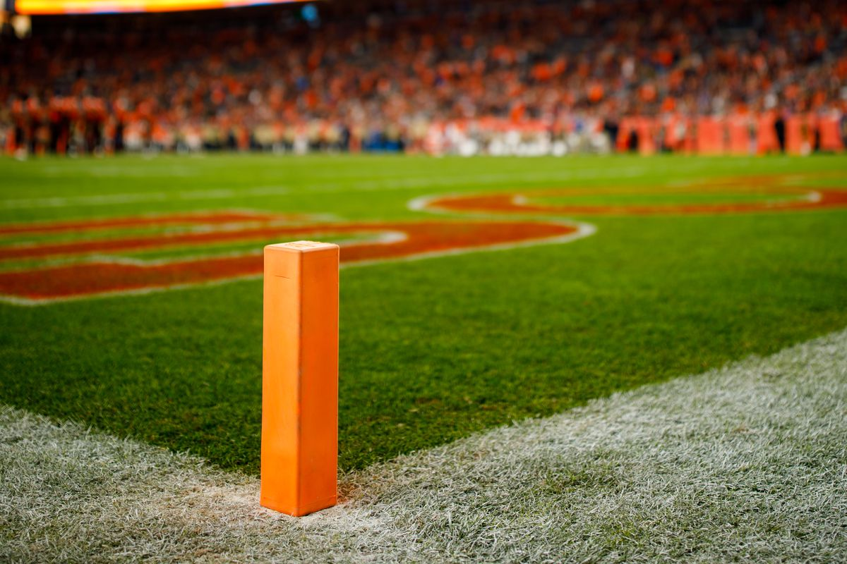 A general view of an end zone pylon in the stadium during sunset as the Cleveland Browns take on the Denver Broncos during the fourth quarter at Empower Field at Mile High on November 3, 2019 in Denver, Colorado.