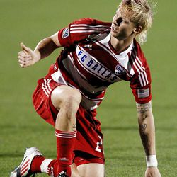 FRISCO, TX - APRIL 25:  Brek Shea #20 of the FC Dallas reacts after being knocked to the turf against Real Salt Lake at FC Dallas Stadium on April 25, 2012 in Frisco, Texas.  (Photo by Tom Pennington/Getty Images)