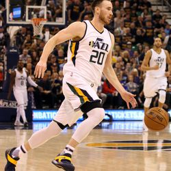 Utah Jazz forward Gordon Hayward (20) dribbles the ball during game 4 of the second round of NBA playoffs against the Golden State Warriors at the Vivint Smart Home Arena in Salt Lake City on Monday, May 8, 2017. The Jazz lost 95-121.