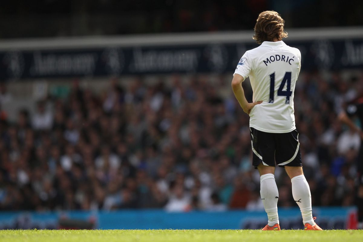 LONDON, ENGLAND - MAY 13:  Luka Modric of Tottenham Hotspur looks on during the Barclays Premier League match between Tottenham Hotspur and Fulham at White Hart Lane on May 13, 2012 in London, England.  (Photo by Clive Rose/Getty Images)