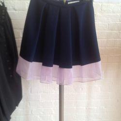 Canvas and chiffon skirt, $100