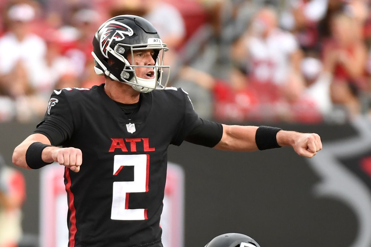 Quarterback Matt Ryan of the Atlanta Falcons signals to his receivers against the Tampa Bay Buccaneers in the third quarter of the game at Raymond James Stadium on September 19, 2021 in Tampa, Florida.