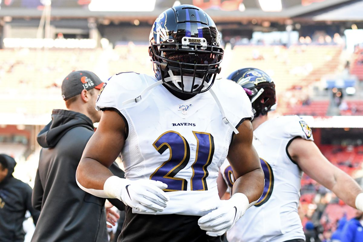 Running back Mark Ingram #21 of the Baltimore Ravens runs off the field prior to a game against the Cleveland Browns on December 22, 2019 at FirstEnergy Stadium in Cleveland, Ohio. Baltimore won 31-15.
