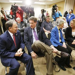 Gov. Gary R. Herbert, left, talks with Utah House Majority Leader Jim Dunnigan, R-Taylorsville, prior to signing two bills — HB436 and HB437 — at the Fourth Street Clinic in Salt Lake City on Friday, March 25, 2016. HB346 will pump $9.25 million into homeless services and shelters, the first of three years of funding that should eventually amount to $27 million. HB347 will provide $15 million to expand Medicaid coverage to the state's poorest of the poor. Dunnigan sponsored HB437.