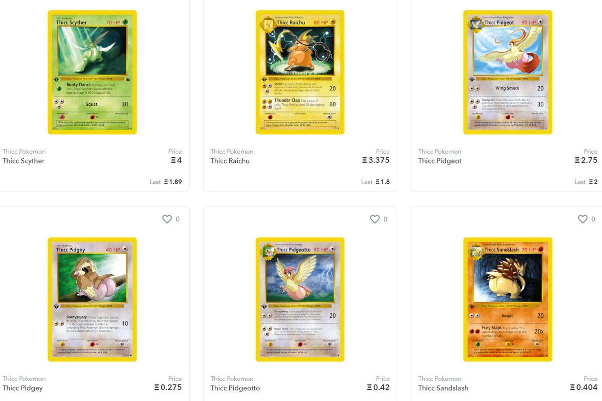 A screenshot of NFT Thicc Pokémon listings