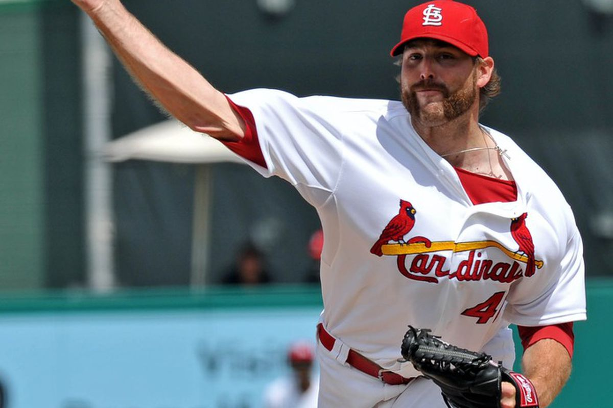 March 21, 2012; Jupiter, FL, USA;St. Louis Cardinals relief pitcher Mitchell Boggs (41) throws in the seventh inning against the New York Mets during a spring training game at Roger Dean Stadium. Mandatory Credit: Steve Mitchell-US PRESSWIRE