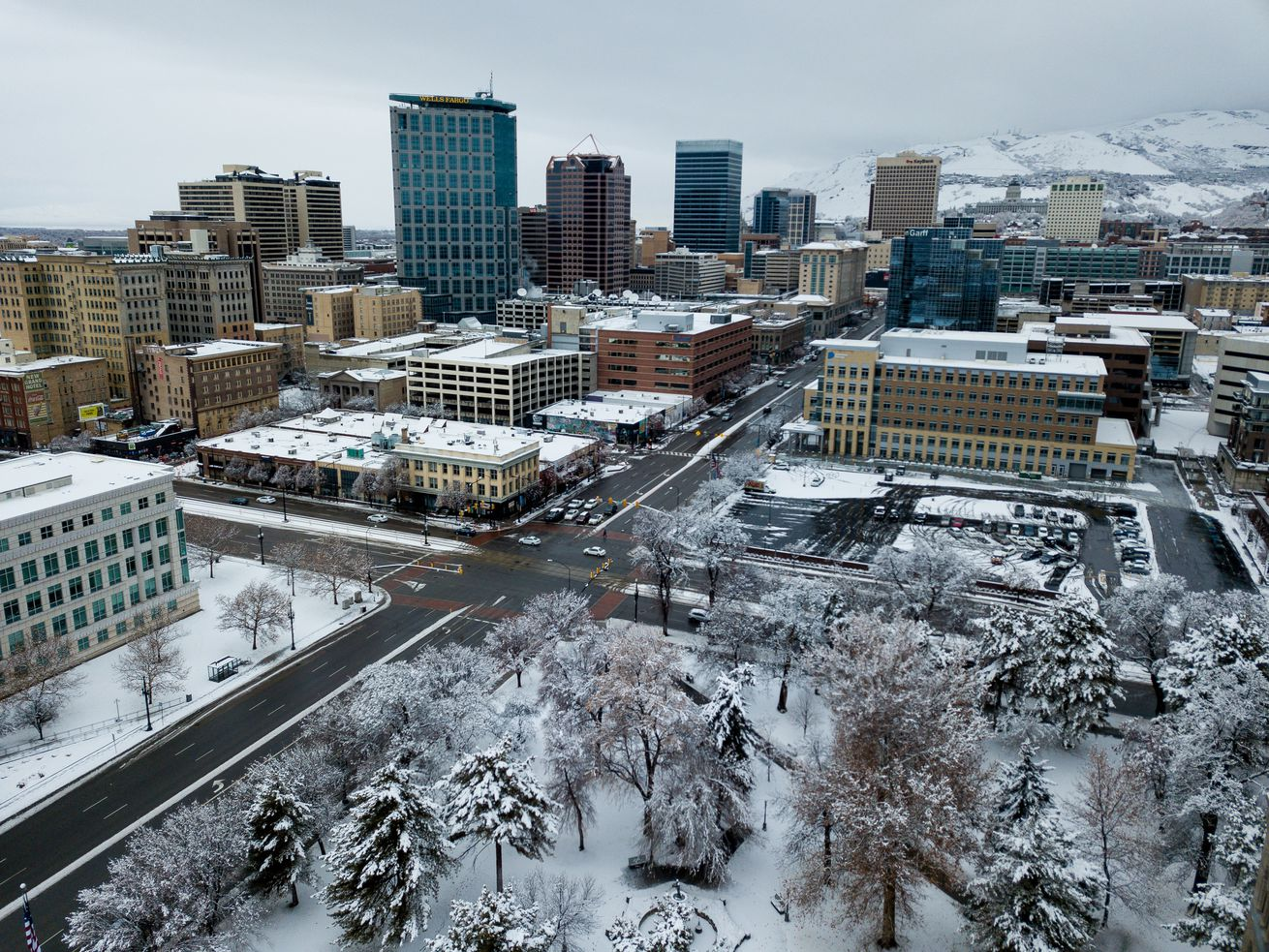 Downtown Salt Lake City is seen during a winter storm on Monday, Jan. 21, 2019.