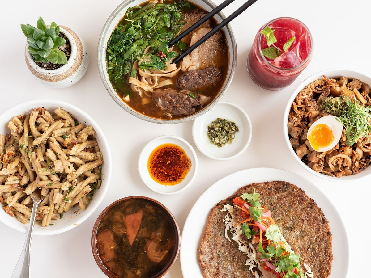Overhead shot of dishes from Yang's Kitchen.