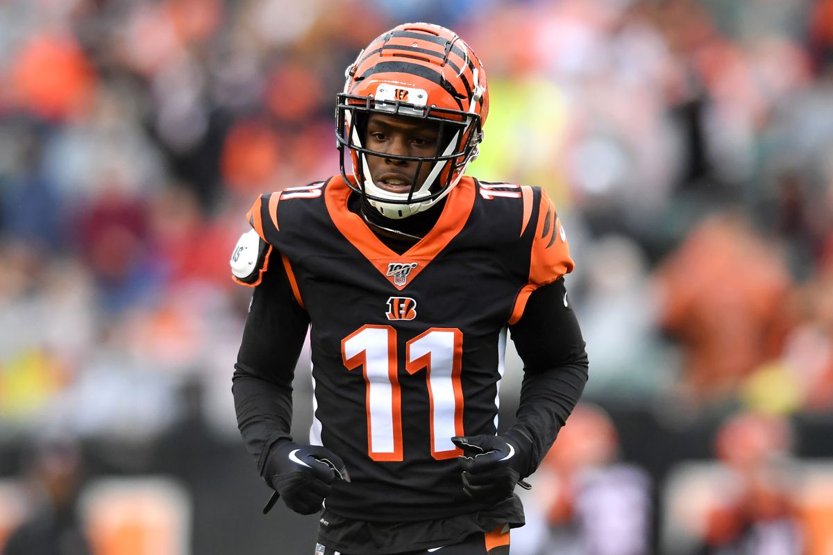 Wide receiver John Ross #11 of the Cincinnati Bengals on the field in the first quarter of a game against the Cleveland Browns on December 29, 2019 at Paul Brown Stadium in Cincinnati, Ohio. Cincinnati won 33-23.