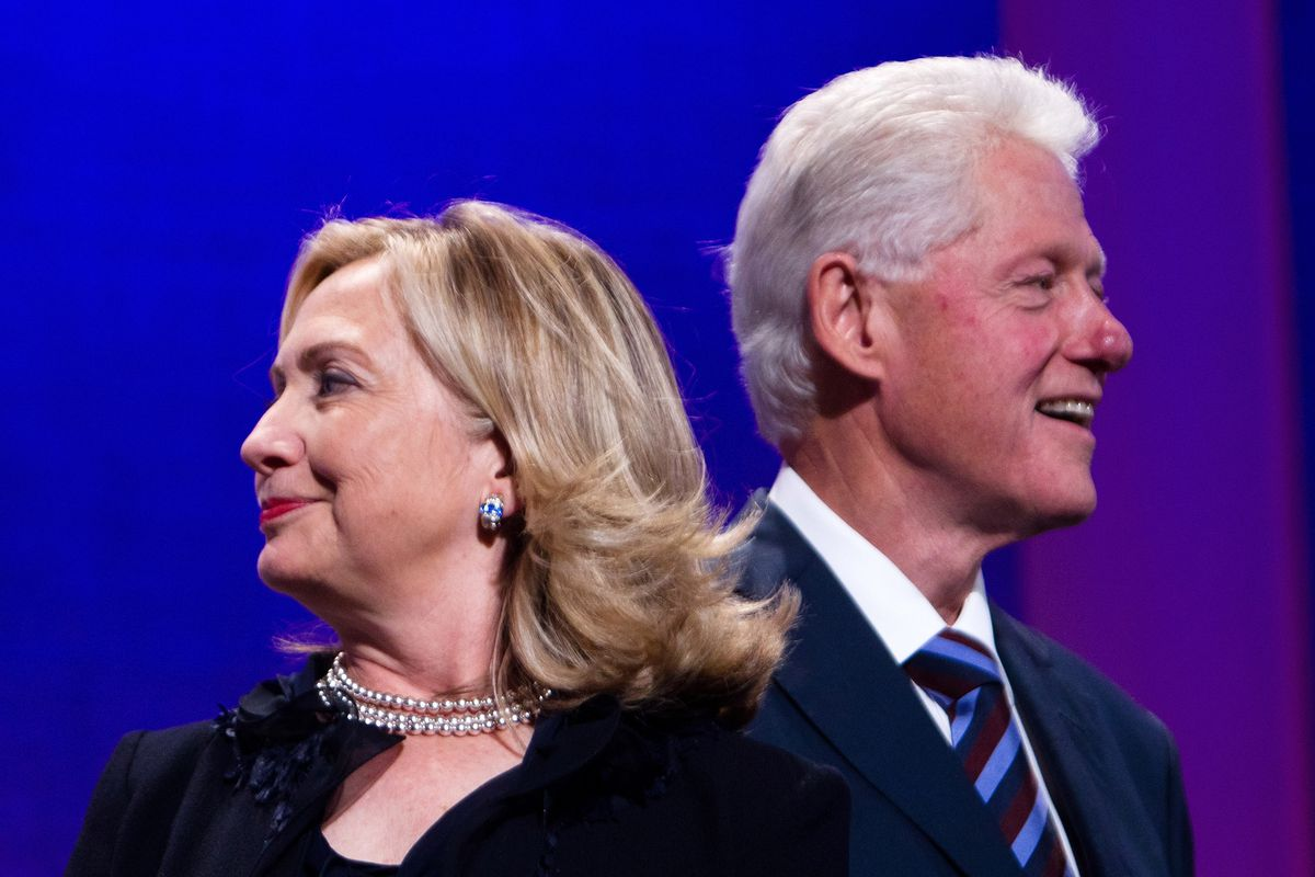 Bill and HIllary Clinton at the 2011 annual meeting of the Clinton Foundation Global Initiative.