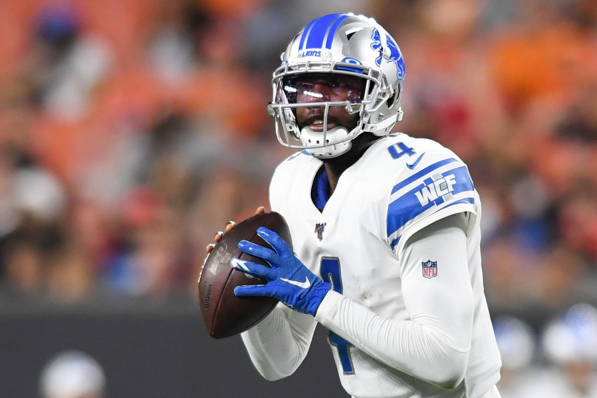 Quarterback Josh Johnson of the Detroit Lions drops back to pass in the third quarter of a preseason game against the Cleveland Browns on August 29, 2019 at FirstEnergy Stadium in Cleveland, Ohio.
