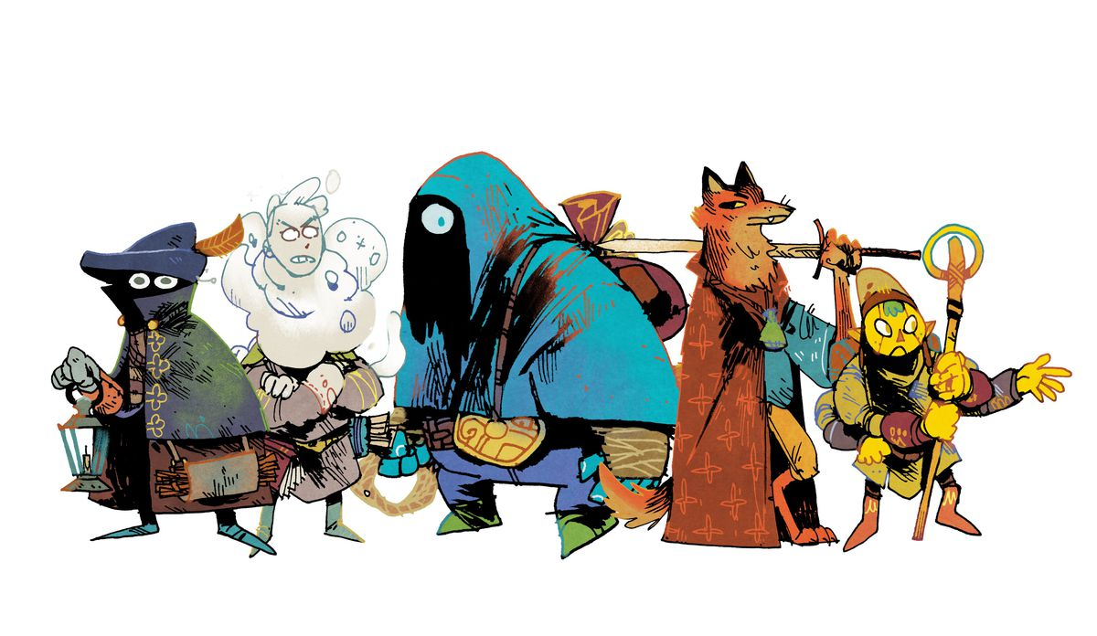 A caped humanoid with a shadowed face, a billious, angry character, and an armed fox among other fanciful creatures.