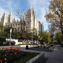 The Salt Lake Temple on Temple Square is seen during the Worldwide Devotional for Young Adults in Salt Lake City Sunday, May 1, 2016.