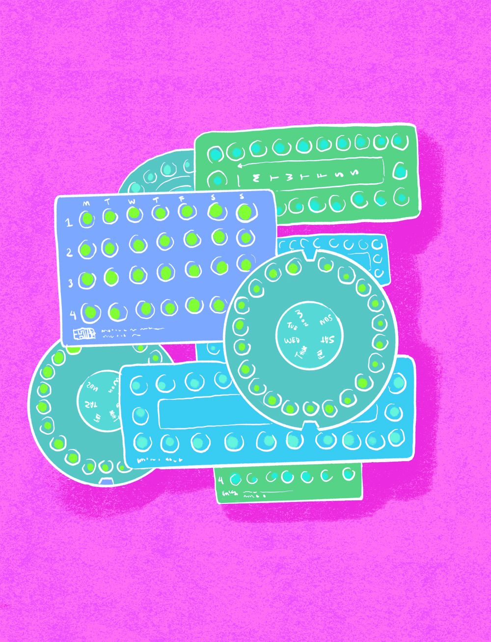 Several birth control pill packs