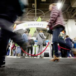 RootsTech attendees visit the many vendors at the Salt Palace in Salt Lake City on Friday, Feb. 10, 2017.