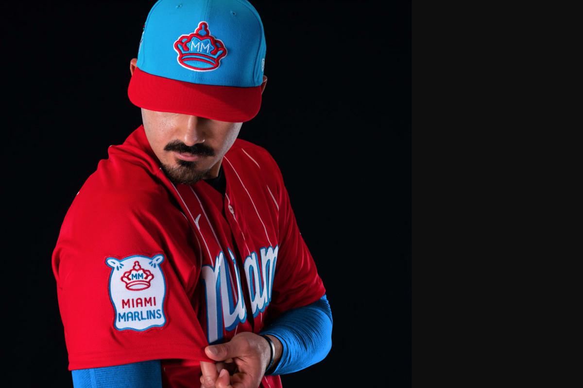 Pablo López models the Marlins' new City Connect uniform