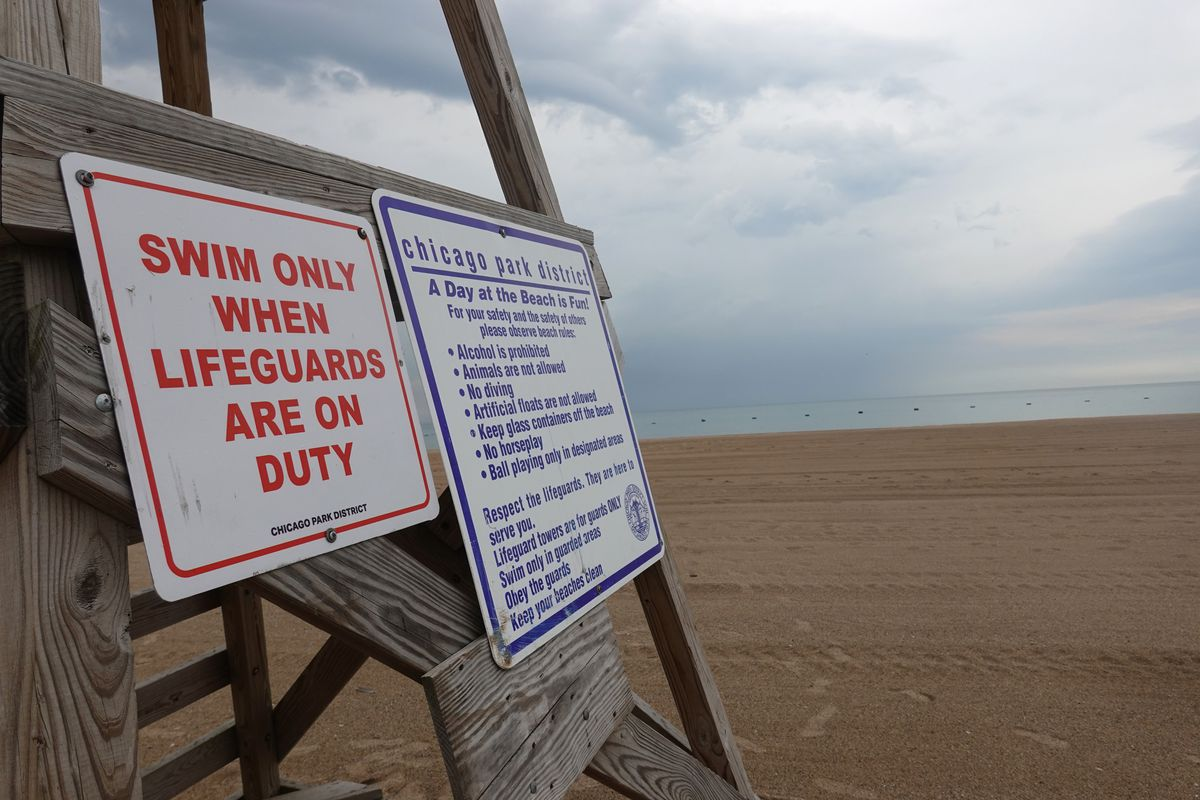 The lifeguard stand at North Avenue Beach along the Lake Michigan shore in Chicago.