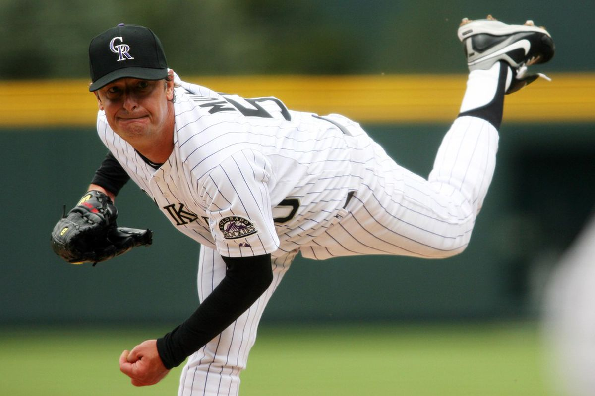 April 12, 2012; Denver, CO, USA; Colorado Rockies pitcher Jamie Moyer (50) delivers a pitch during the first inning against the San Francisco Giants at Coors Field.  Mandatory Credit: Chris Humphreys-US PRESSWIRE