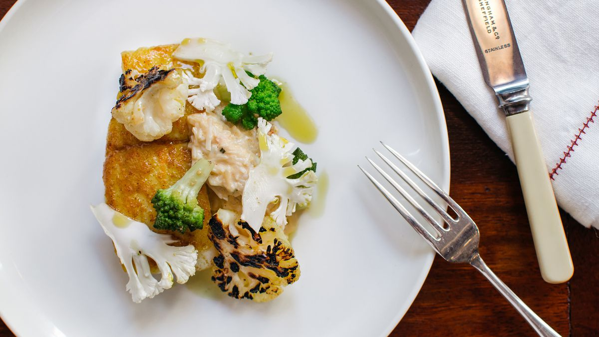 Brill with devilled crab and cauliflower at Cora Pearl, a new London restaurant in Covent Garden