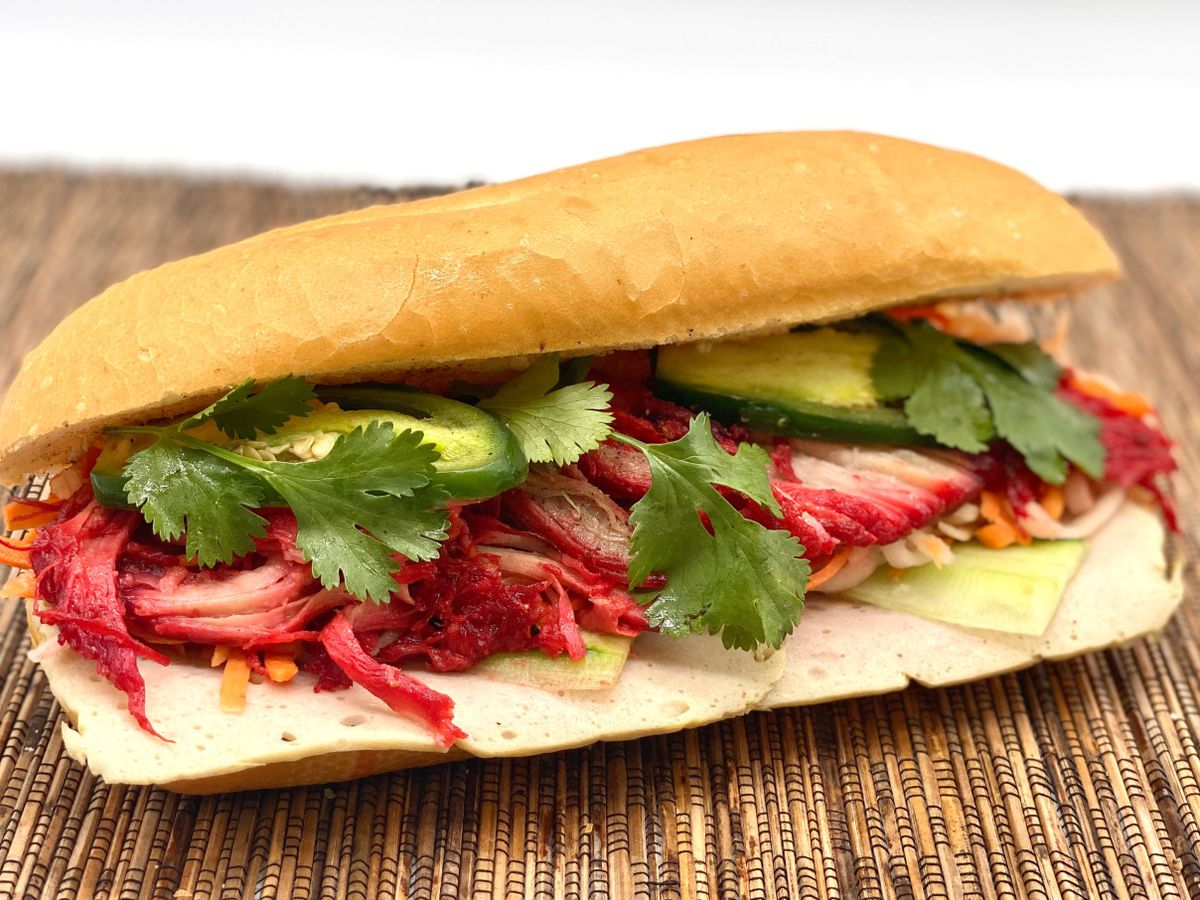 """A closeup of the """"BBQ/ham"""" special banh mi at Yeh Yeh's"""