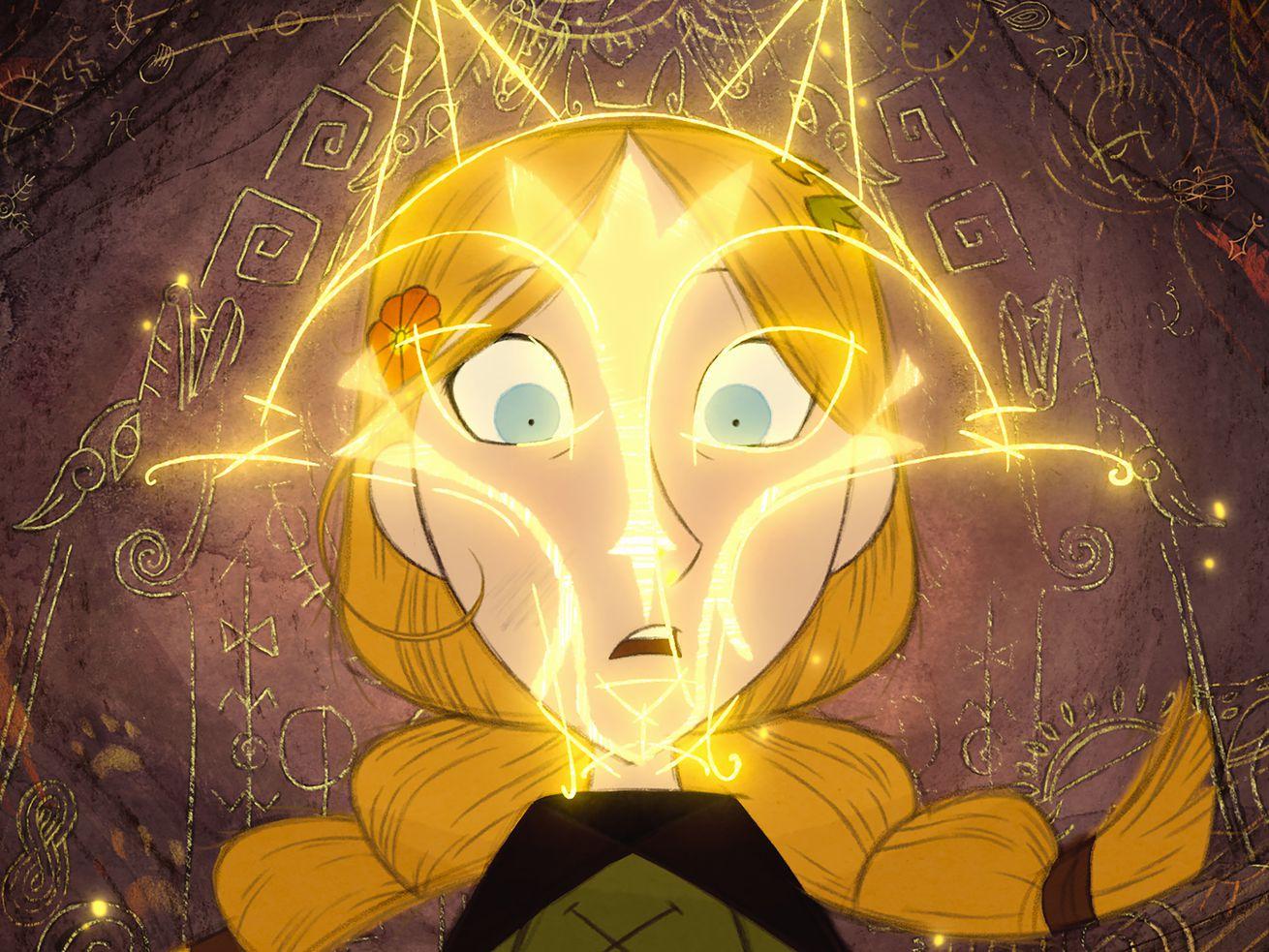 Le visage d'une fille de dessin animé est recouvert d'une forme de loup.