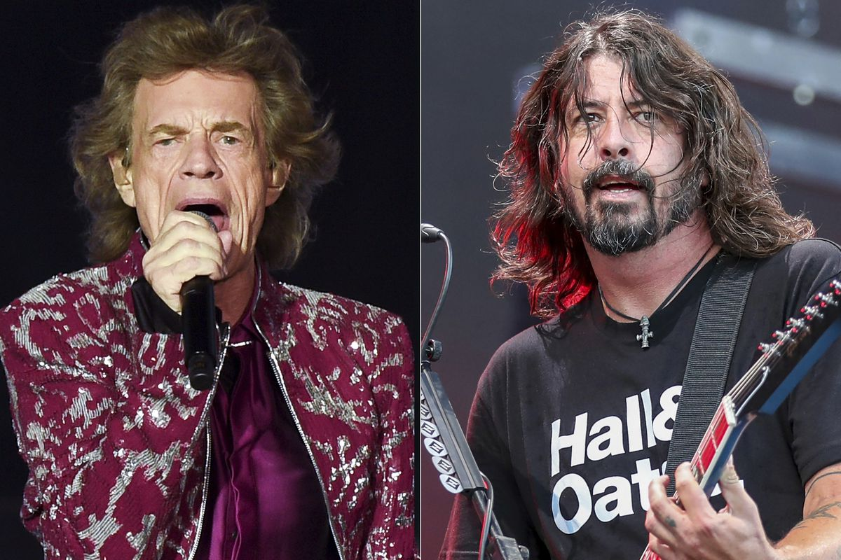 Musician Mick Jagger of The Rolling Stones performs in East Rutherford, N.J. on Aug. 1, 2019, left, Dave Grohl of the Foo Fighters performs at Pilgrimage Music and Cultural Festival in Franklin, Tenn. on Sept. 22, 2019.