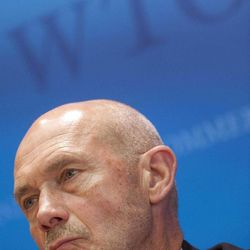 Director General of the World Trade Organization, WTO, Pascal Lamy addresses a news conference on annual trade forecast and statistics at the WTO headquarters in Geneva, Thursday, April 12, 2012. Europe's sovereign debt crisis and other economic shocks are expected to slow the growth in global exports to just 3.7 percent in 2012, the WTO said. That comes after slowing to 5 percent in 2011, and would mark a sharp deceleration from the 13.8 percent growth rate in 2010. The figures represent the total volume of merchandise exported across borders, accounting for changes in prices and exchange rates.