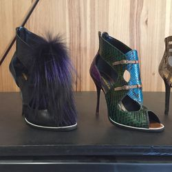 Heels with fur ($449) and snakeskin ($509)