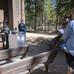 The 9:30 a.m. nondenominational Christian church service begins with three songs before one of the 4 members of the ministry lead the service in Bryce Canyon National Park, Sunday, June 18, 2017.