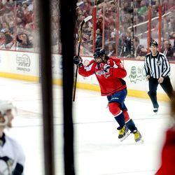 Ovechkin Celebrates Late Goal