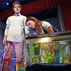 """Emily Burnworth, right, and David Fetzer star in Salt Lake Acting Company's production of the comedy """"Boom."""""""