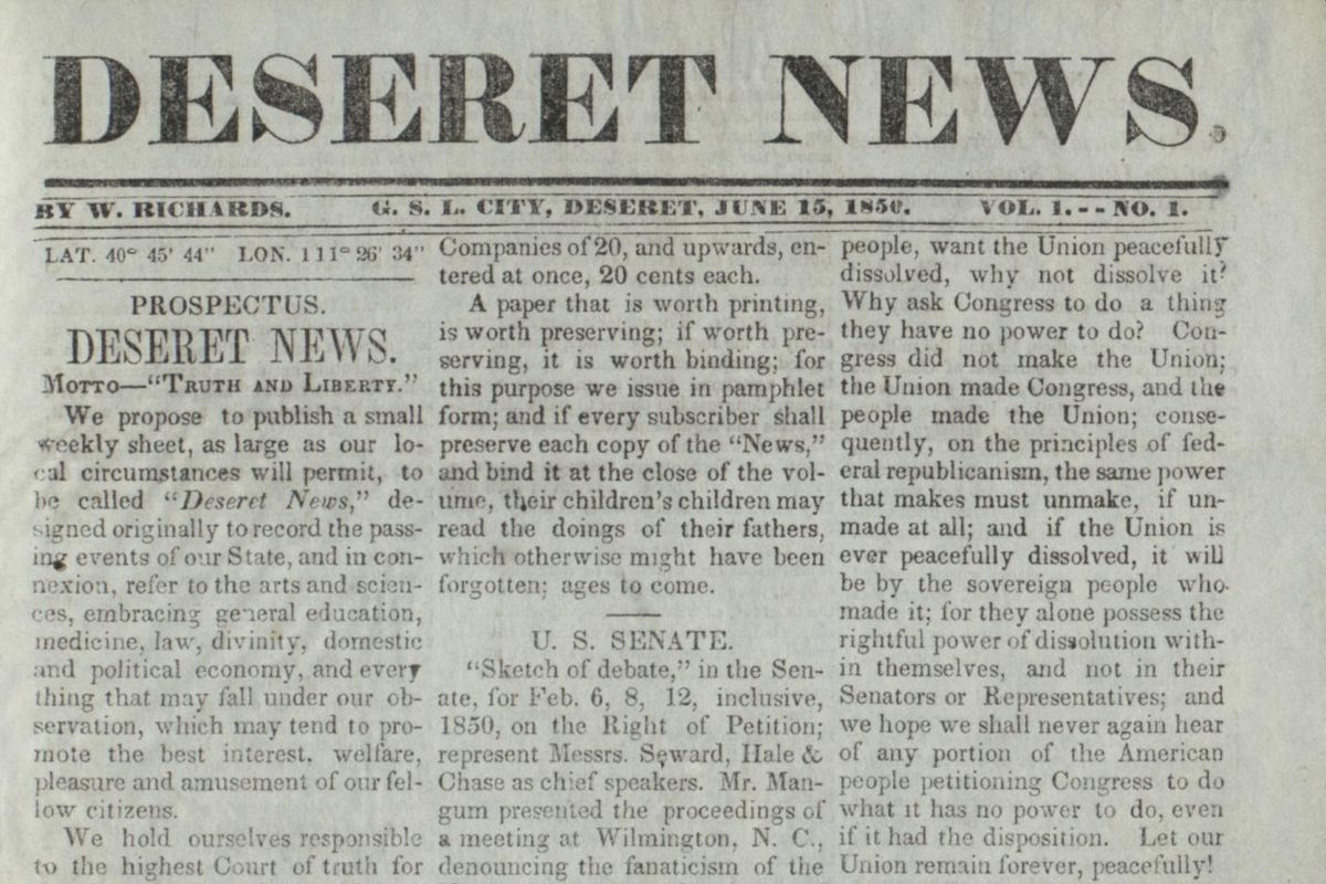 The first page of the first edition of the Deseret News published on June 15, 1850.