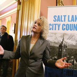 Mayor-elect Jackie Biskupski speaks to the media after the Salt Lake City Council, acting as board of canvassers, certified final election results Tuesday, Nov. 17, 2015, at the City-County Building. Biskupski defeated Mayor Ralph Becker by 1,194 votes — 51.55 percent to 48.45 percent — with more than 38,000 votes cast.