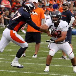 Broncos quarterback Brock Osweiler hands off to RB Jacob Hester