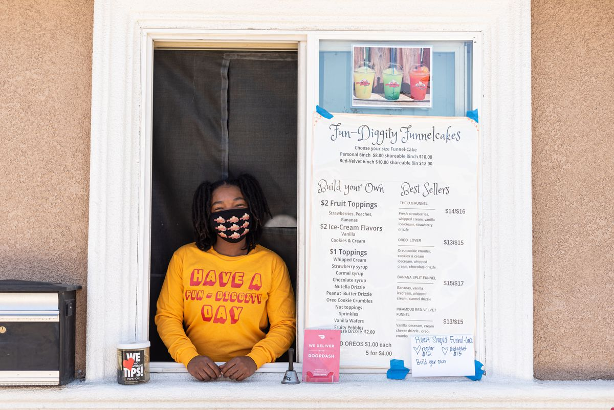 Cheyenne Brown, owner of Fun Diggity funnel cakes in Compton, California.
