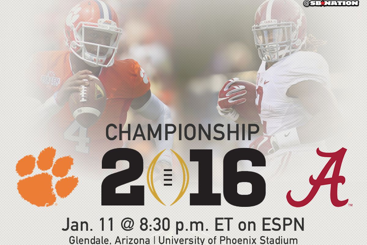 Kickoff time for national championship game - The College Football Playoff National Championship Is Set No 1 Clemson Will Play No 2 Alabama For The Title