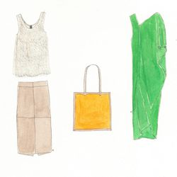 Bei Top in pearl, $625; Long Spiral Skirt in mud stretch leather, $1,395; RTH Simple Tote Bag in pink/orange, $135; Long Cade Dress in forest green, $895