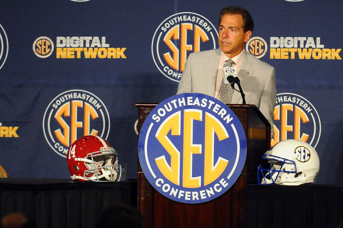 July 19, 2012; Hoover, AL, USA; Alabama Crimson Tide coach Nick Saban answers questions during the 2012 SEC media days press conference at the Wynfrey Hotel. Mandatory Credit: Kelly Lambert-US PRESSWIRE