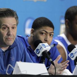 Kentucky head coach John Calipari speaks during a news conference for the NCAA Final Four tournament college basketball game as forward Anthony Davis, center, looks on Sunday, April 1, 2012, in New Orleans. Kentucky plays Kansas in the championship game Monday night.