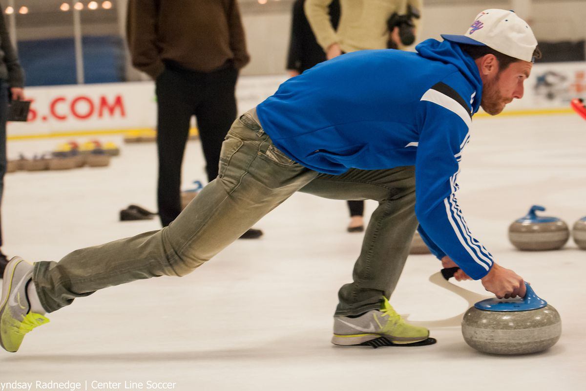 Mike Fucito's first attempt at curling.