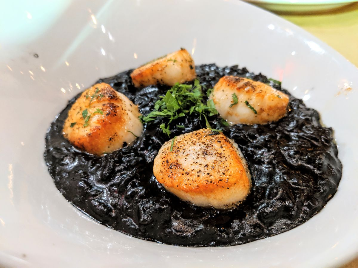 Four pan-seared scallops sit on a bed of black squid ink risotto in a white bowl