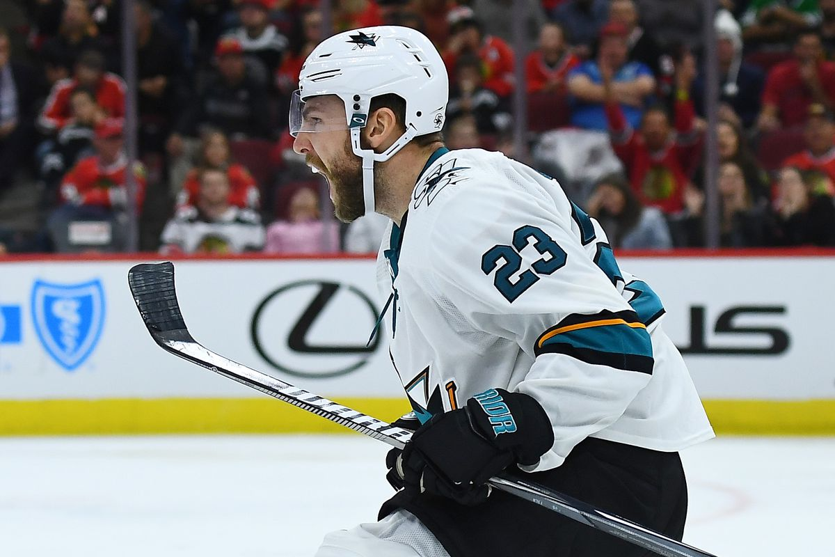 Barclay Goodrow #23 of the San Jose Sharks celebrates a goal against the Chicago Blackhawks during the third period of the opening home game at United Center on October 10, 2019 in Chicago, Illinois.