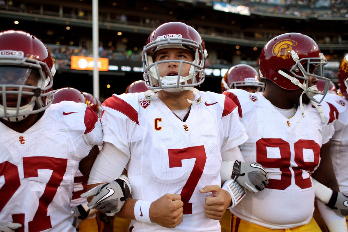 SAN FRANCISCO, CA - OCTOBER 13:  Matt Barkley #7 of the USC Trojans gets ready to run on to the field for their game against the California Golden Bears at AT&T Park on October 13, 2011 in San Francisco, California.  (Photo by Ezra Shaw/Getty Images)