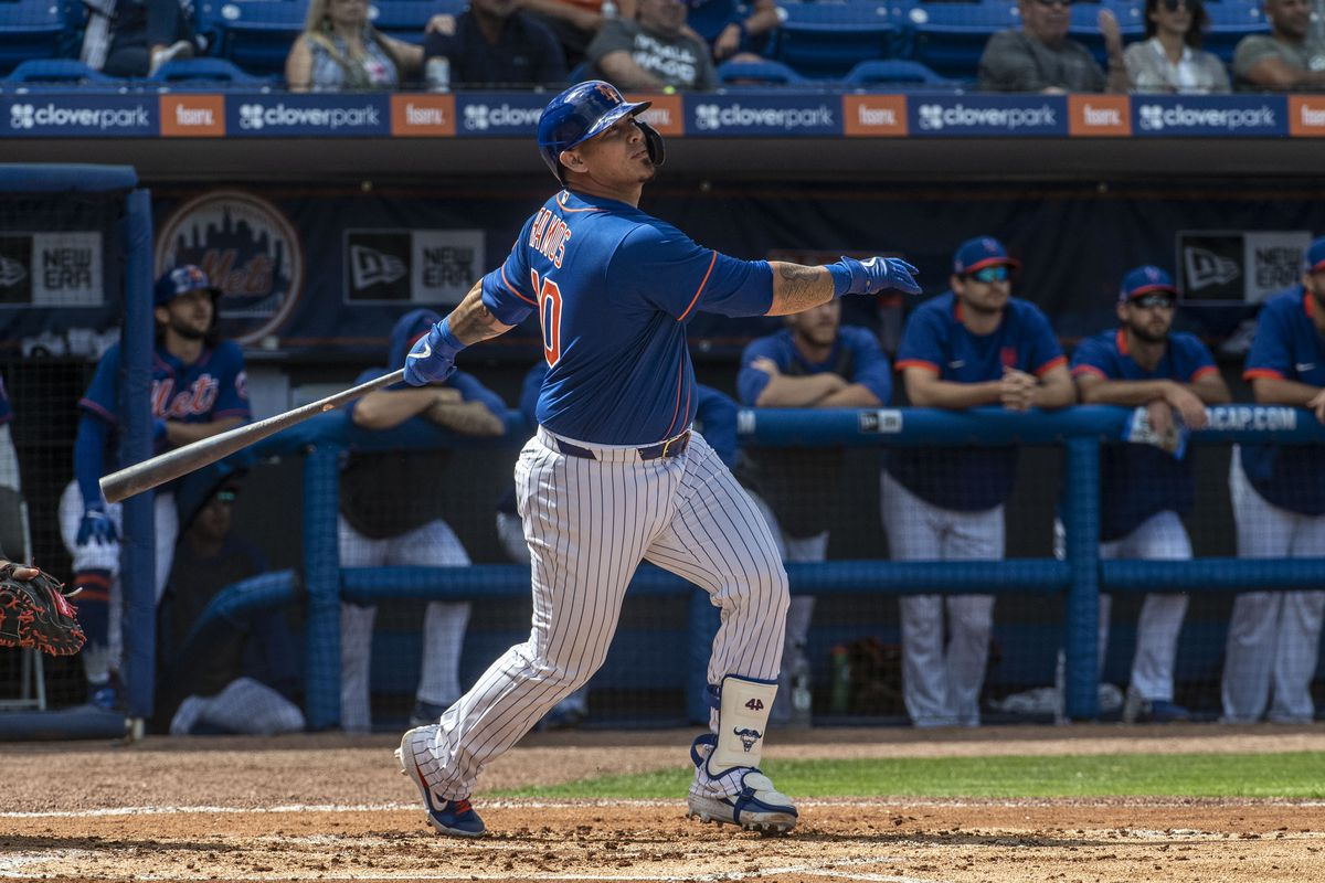 New York Mets Player Wilson Ramos Bats During Spring Training Game Against the Miami Dolphins