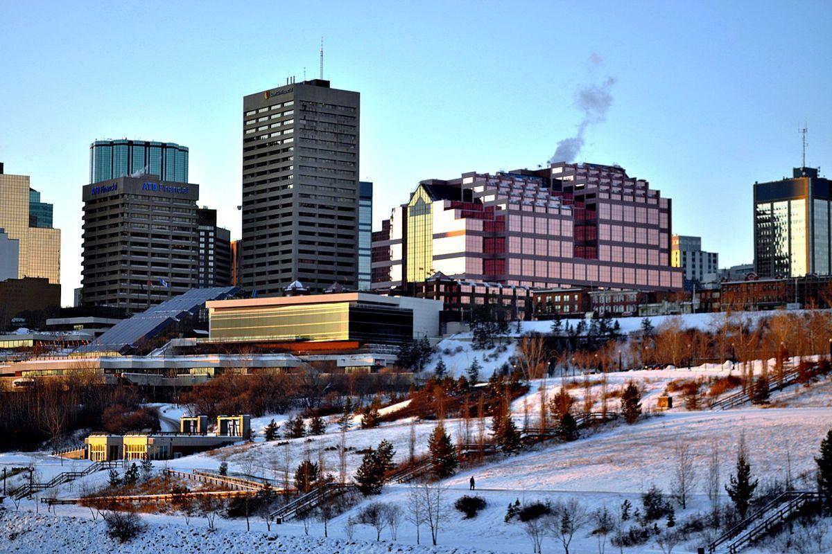 Edmonton skyline in winter